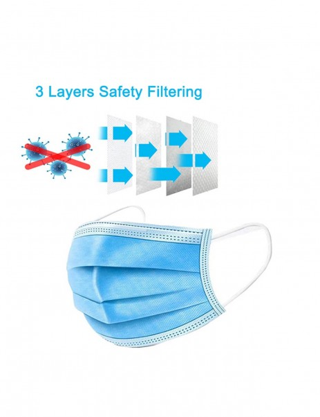 3-layer Face Masks with Elastic Ear Loop Dustproof Anti-bacteria Disposable Protection - 50PCS